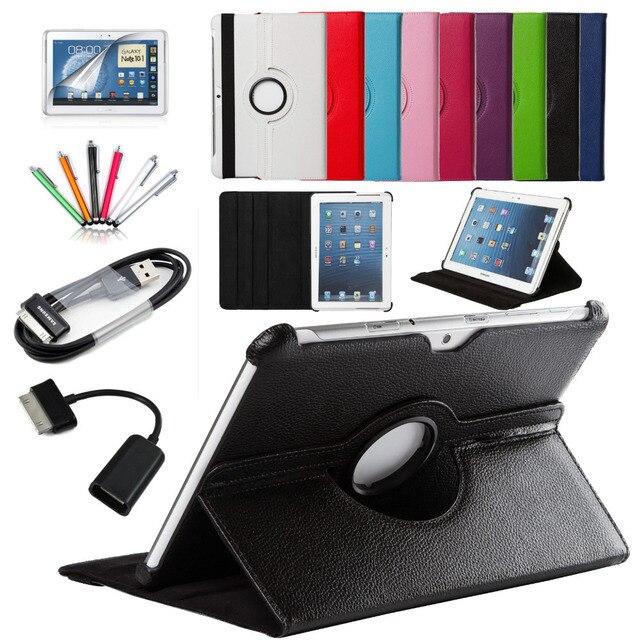 7 en 1 Para Samsung Galaxy Tab 2 10.1 P5100 P5110 P7500 P7510 Tablet Inteligente PU Cubierta de Cuero 360 Rotating + Micro USB OTG + cable