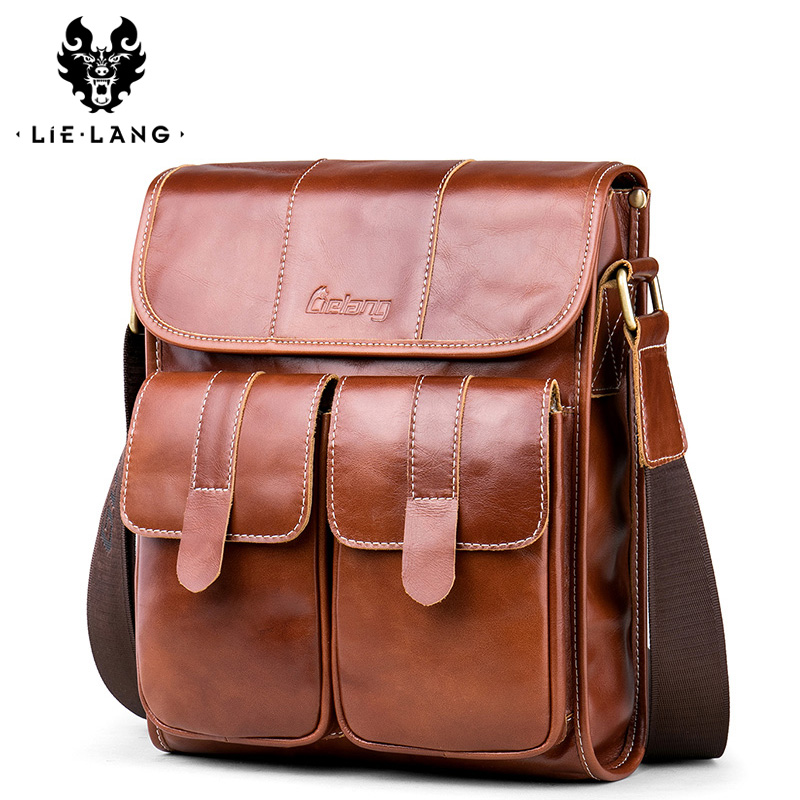 LIELANG Men Shoulder Bag Messenger Genuine Leather Waterproof Crossbody Messenger Bag For Men Vintage Bag Crossbody Bag Business