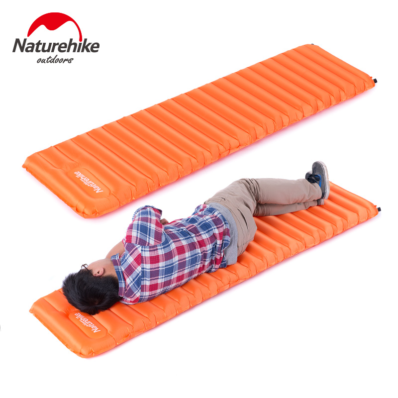 NatureHike Manually Inflatable Cushion 193x60x9cm Camping Mat Tent Air Mattress Outdoor Moisture-proof Pad NH15T051-P