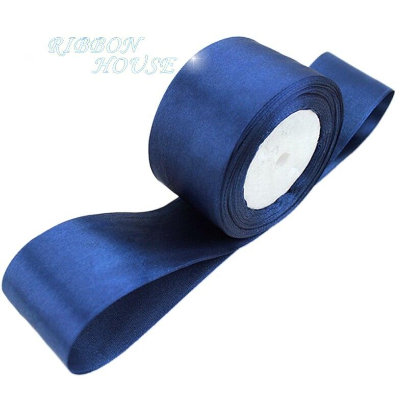 (25 ярдов/рулон) 2 »(50 мм) глубокий синий одно лицо атласная лента лямки украшения подарок на Рождество лентами