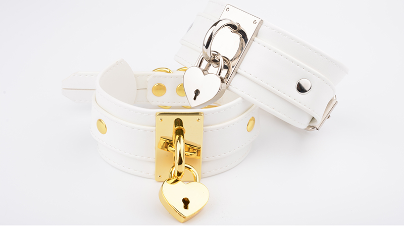 Oversized Handmade BDSM Bondage Leather Necklace For Women Lovely Lockable Heart Collar Wholesale Sexy Pastel Gothic Choker Punk 9