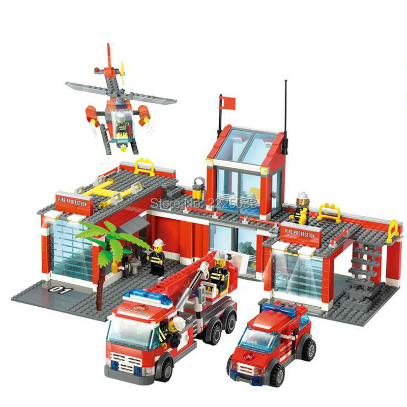 ФОТО Classic City Fire Station 774pcs/set casualty helicopter,Fire engine,Fire headquarters Blocks Bricks Kids Toys Gifts