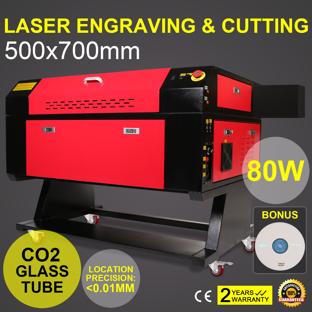 80W Co2 Laser 700x500mm Cutting Machine W/80MM 3 JAW Rotary Laser Engraving Cutting Machine