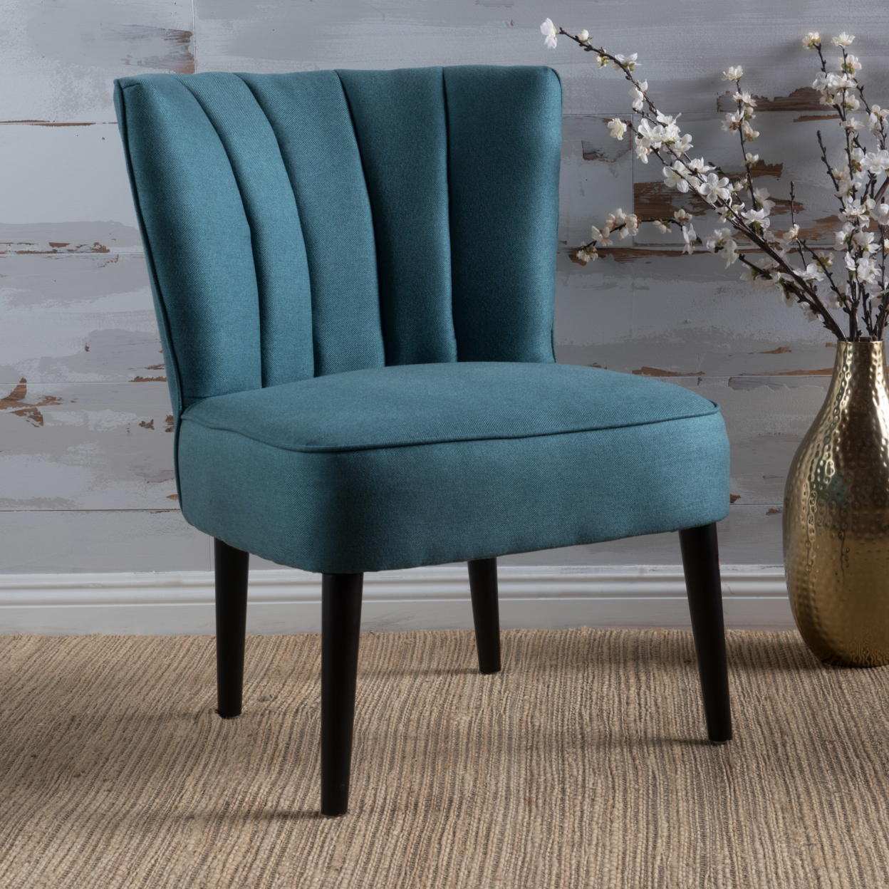 Leafdale Plush Fabric Accent Chair anso contemporary teal color fabric accent chair