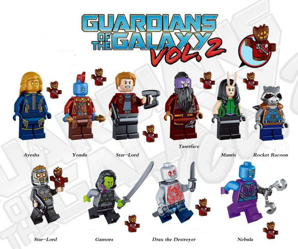 10pcs/lot Super Heroes Guardians of The Galaxy Building Blocks Rocket Racoon Assembled Toys Best Kids Bricks Model Toys