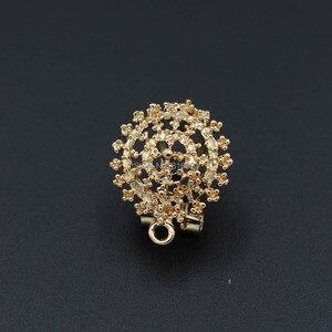 Image 2 - Clip Earrings Post with Loop Hanger Hollow Filigree Circel Flower DIY Metal Stud Earrings Findings 18x21mm 10 Pairs