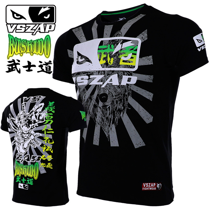 VSZAP BUSHIDO Boxing T Shirt Men MMA Gym Kickboxing Muay Thai Boxing Training Cotton Breathable Kong Fo Mma Fighting Shorts