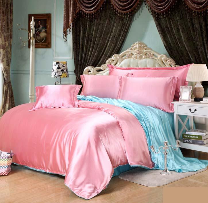 Luxury Silk / Satin 3/4pcs Bedding Set Bedclothes Twin