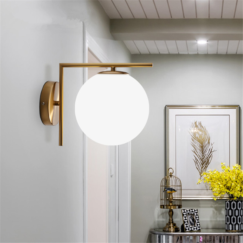 Modern LED Nordic loft Wall Lamps Glass Ball Wall Lights For Bedroom Wall sconces Light Fixtures Lustre Indoor Lighting lamp free shipping retro left hand wall sconces lights fixtures brown color bedroom fist wall lamps