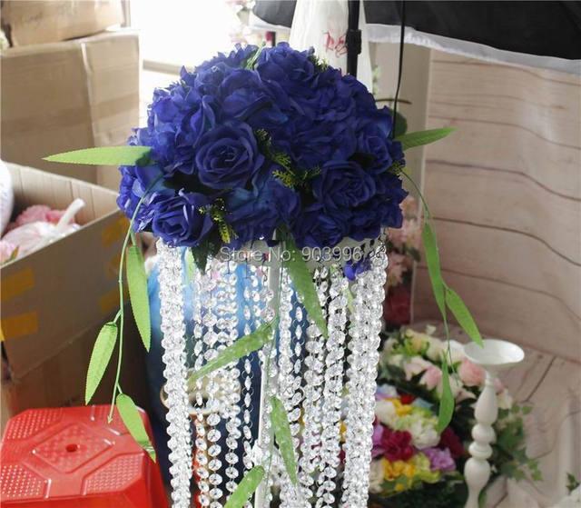 Spr Royal Bleu Table Maitresse Fleur Boule De Mariage Arc Fleurs