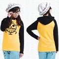 Anime de One Piece Trafalgar Law Cosplay fina / gruesa chaqueta Unisex amarillo Casual capa del Hoodie