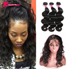360 lace frontal with bundle Peruvian virgin hair with closure body wave Pre plucked 360 lace frontal Wet and wavy lace frontal