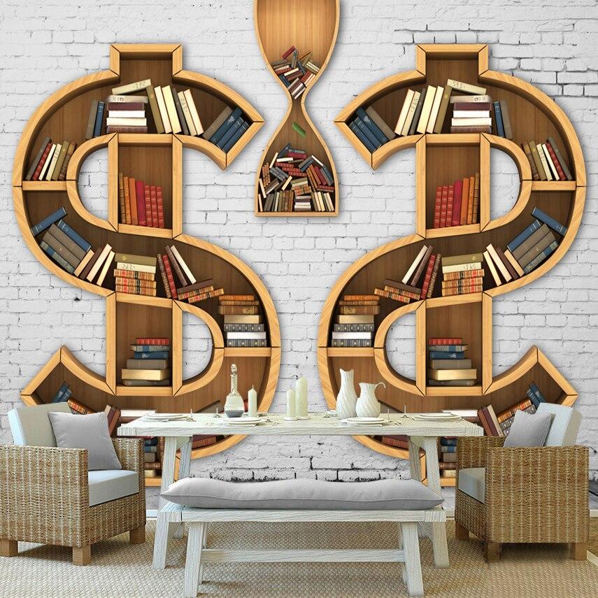 Custom 3d Muurschildering Behang Boekenkast Boeken Boekenrek 3d