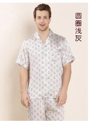 100% Mulberry Silk Weighty Silk Men's Short Sleeve Printed Pajamas Silk Home Wear L-3xl