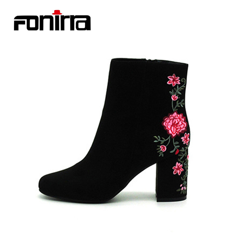 цены FONIRRA Fashion Embroider Flower Women Ankle Boots High Square Heel Women Shoes Round Toe Winter Boots Floral Shoes 690