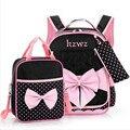 Meninas bonitos Bowknot Mochilas Crianças Mochila Crianças Sacos de Escola Menina Ortopédico Mochila Impermeável Saco de Escola Mochila Criança B160