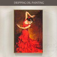 Professional Artist Pure Handmade High Quality Classical Dancer Oil Painting on Canvas Spanish Dancer Flamenco Dance Painting