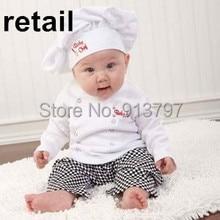 Retail 2014 Autumn Boys Clothing Sets Long Sleeve T-shirts + Plaid Pants+Hats 3 Piece Sets 16181