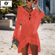 White Knitted Pareos Beach Cover up Dresses Bikini Women Swimsuit Cover-up Sexy Tunic Robe Summer Bathing Suit