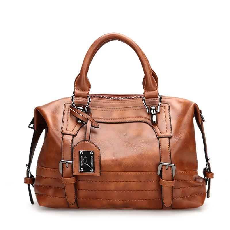 Vintage Luxury Leather Boston Handbag Women Bags Designer Tote Women Famous Brands Retro Handbags for Female High Capacity New