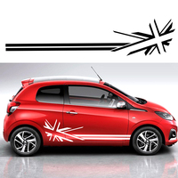 YONGXUN For Peugeot 107 108 019 207 208 Union Jack Flag Racing Stripes Graphics Stickers Decals