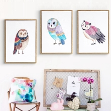 Nordic Cute Owl Art Print And Poster Nursery Wall Decor , Watercolor Owl Wall Art Prints Canvas Painting Kids Room Decoration