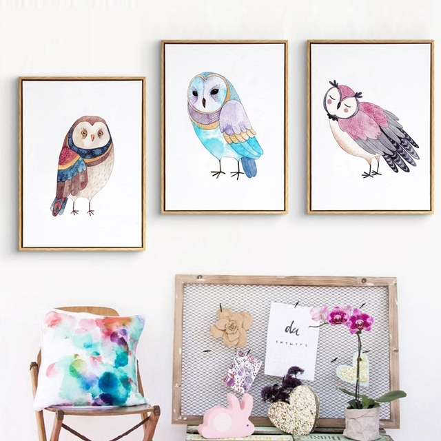 Nordic Cute Owl Art Print And Poster Nursery Wall Decor , Watercolor Owl  Wall Art Prints