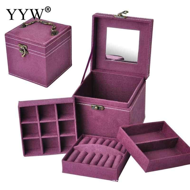 2019 عالية الجودة 12x12x12 سنتيمتر خمر المخملية ثلاث طبقات المجوهرات مربع Multideck حالات التخزين مع الخشب مرآة مجوهرات الزفاف هدية