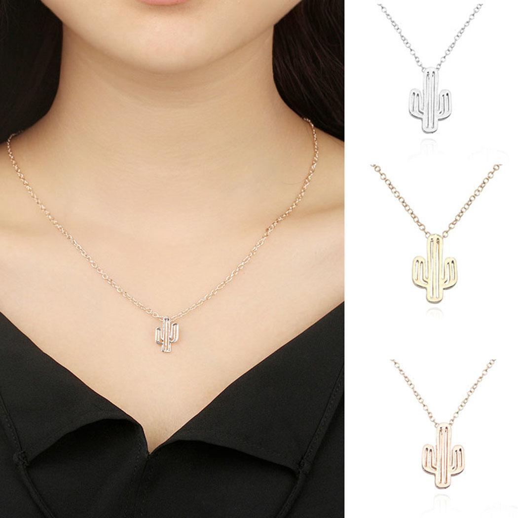 7892a4c121988 ჱLink Chain Hollow Women Geometric Necklaces Fashion Pendant Cactus ...