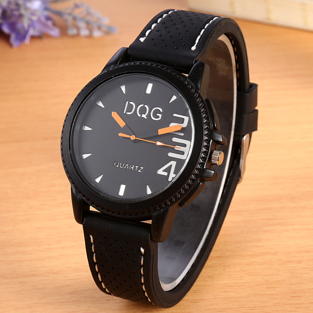 New DQG Brand Fashion Luxury Silicone Casual Quartz Watch Men Sports Military Wrist Watches Relogio Masculino Clock Hot Sale Red new luxury brand dqg crystal rosy gold casual quartz watch women stainless steel dress watches relogio feminino clock hot sale