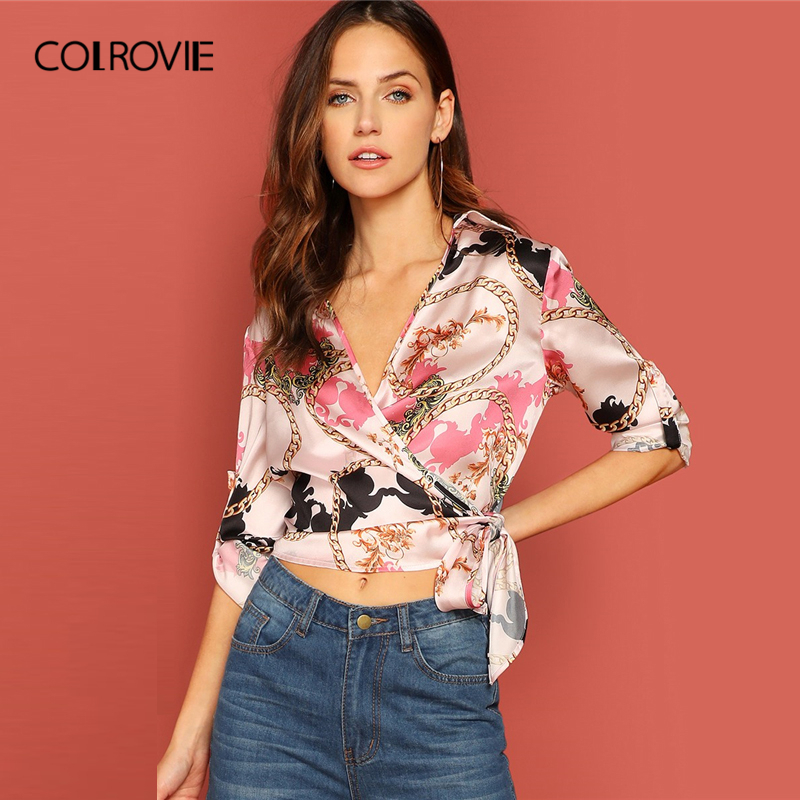 COLROVIE V-Neck Scarf Print Tab Sleeve Knot Wrap Sexy   Blouse     Shirt   Women Clothing 2019 Spring Fashion Elegant Office Ladies Tops
