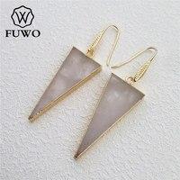 FUWO Naturel Cristal Quartz Triangle Boucles D'oreilles 24 K Or Plaquent Élégant Minimaliste Cristal Balancent Boucles D'oreilles Bijoux ER001