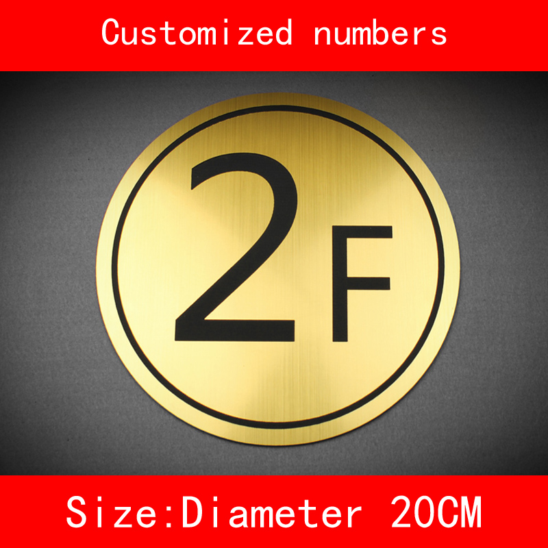 diameter 20cm building number floor sign brushed ABS Custom made Numbers and letter not fade in Door Plates from Home Improvement