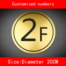 diameter 20cm building number floor sign brushed ABS Custom-made Numbers and letter not fade custom made halo lit address numbers