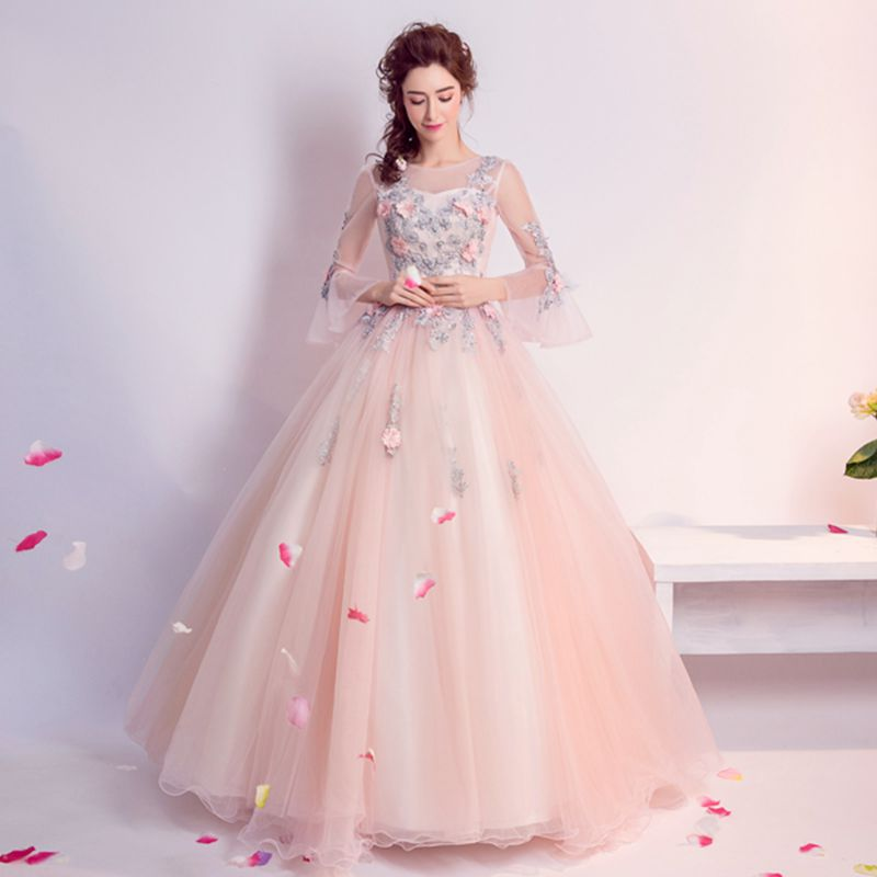 9c69e7dd948dd US $38.27 11% OFF|Cheap Quinceanera Gowns Pink Long Sleeve Quinceanera  Dresses Debutante vestido 15 anos Ball Gown Sweet Prom Dress Gowns-in ...