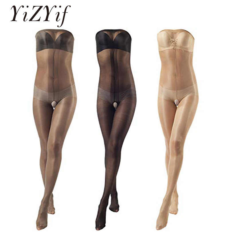 9d55eecd77b YiZYiF Womens Ultra Shiny Stocking Pantyhose Shimmery Stretch Toe to Bust  Crotchless 30 Denier Body Stocking