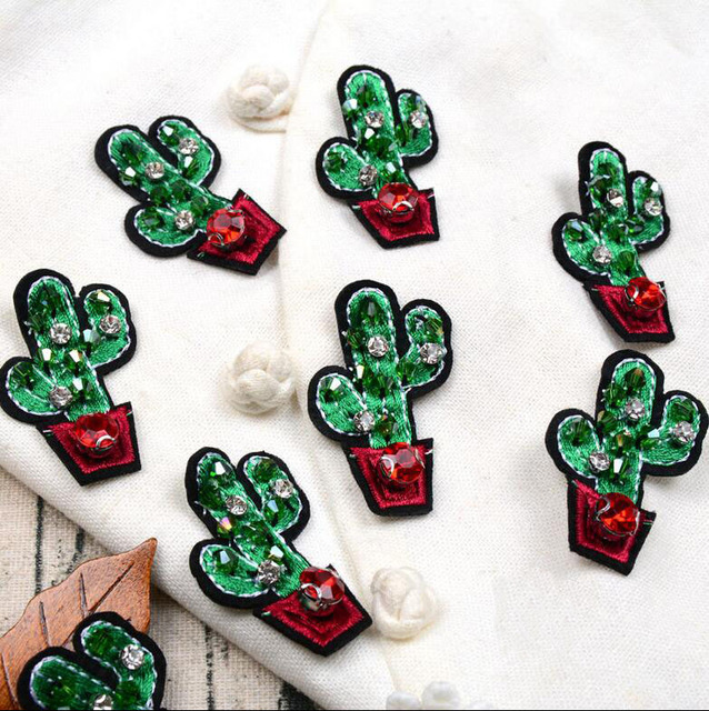 5 Pcs Rhinestone Cactus Applique Patches for Clothing