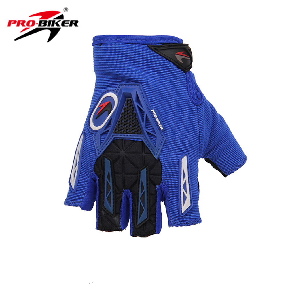 Motorcycle gloves discount - Pro Biker Blue Motorcycle Gloves Half Finger Knight Riding Motorbike Gloves Summer Breathable Motorcycle