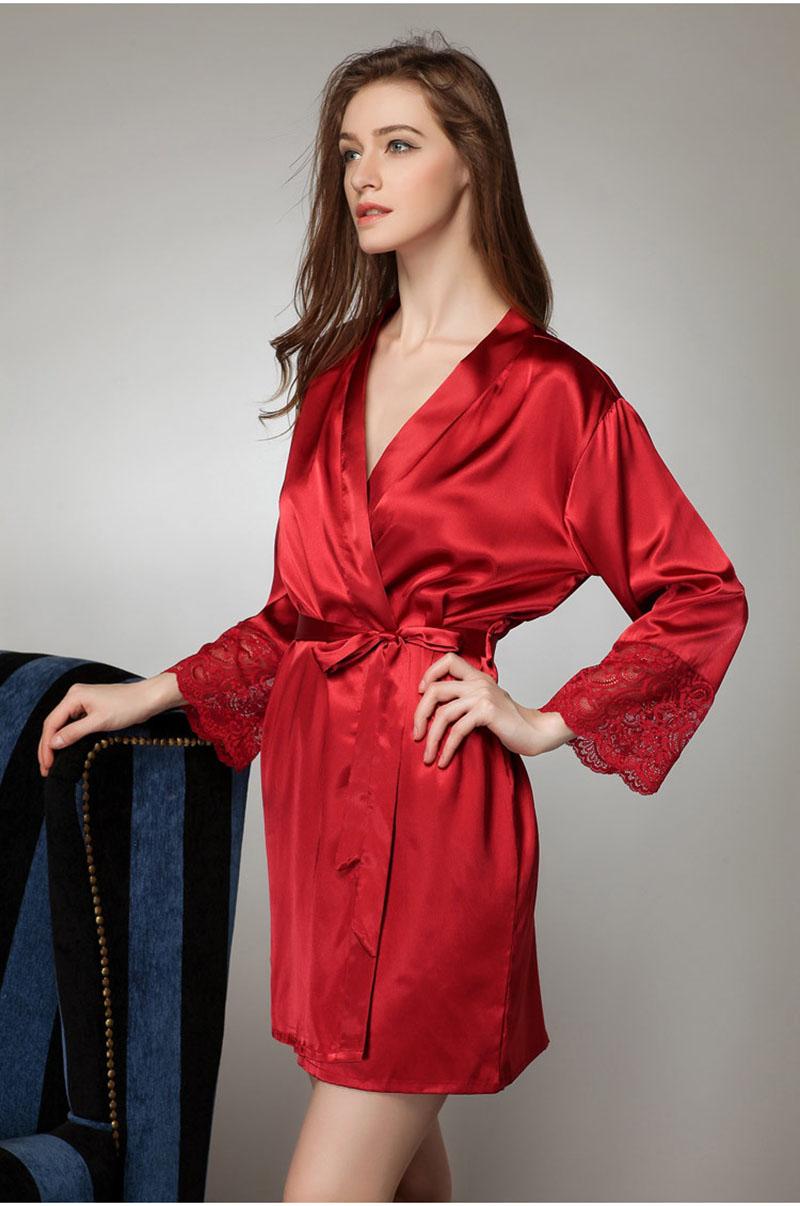 dd0227b525 Sexy Yukata Pajamas Lingerie Japanese Bathrobes Kimono Pure Colors Robe  Sleepwear 2015 Women Satin Vintage