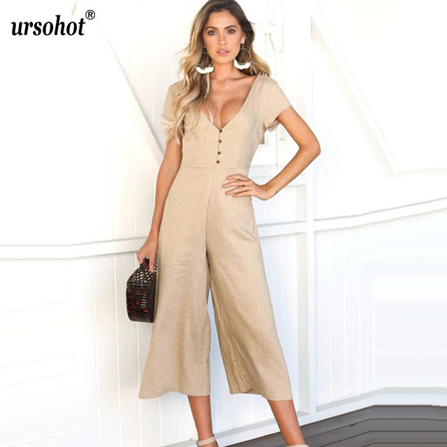 637b6ff31082 Ursohot Sexy V Neck Solid Linen Jumpsuit Women 2018 Summer Short Sleeve  Buttons Wide Leg Rompers Vintage Party Overalls Female