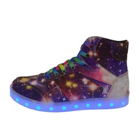2017 Winter New USB Charging Canvas Sneakers Men Women High Top Colorful LED Luminous Shoes Lovers