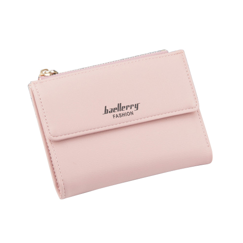 baellerry 1x Pink PU leather ladies simple buckle zipper multi-card bit two fold money purse card bag size about:12.5x9.5x1.7cm