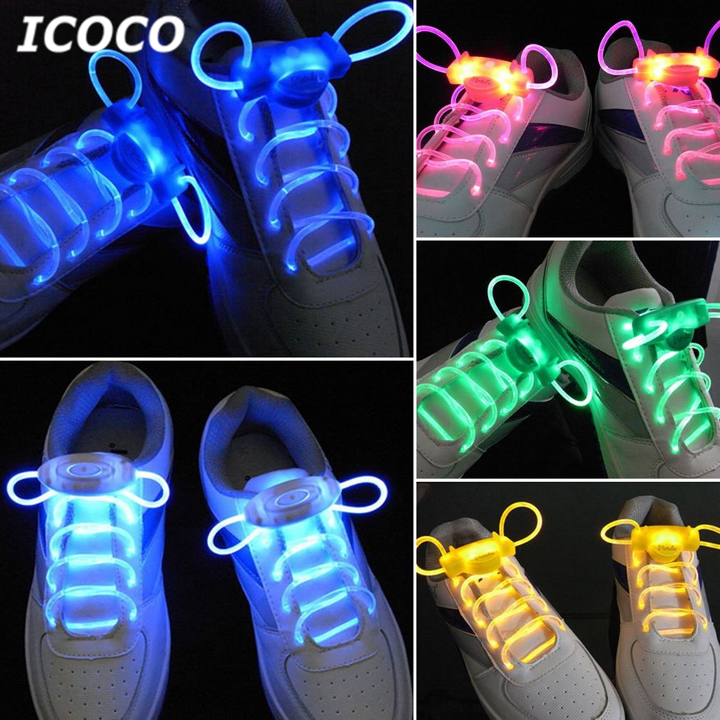 ICOCO 1 Pair 80cm LED Light For Glow Shoelace Glow Stick Flashing Colored Neon Shoelace Laces For Party Night Jogging Drop Ship