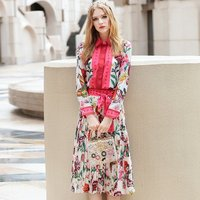 OLN 2PCS Women Sets Blouse Skirt Lady Suits Print Autumn Runway High Quality Designer Full Sleeve