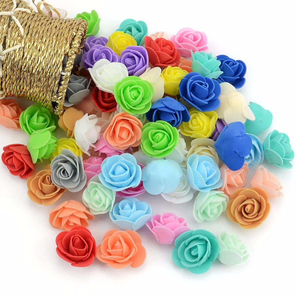 50 шт./пакет мини пены PE розы Глава Искусственные цветы розы ручной работы DIY свадебное украшение дома праздничные и вечерние поставки