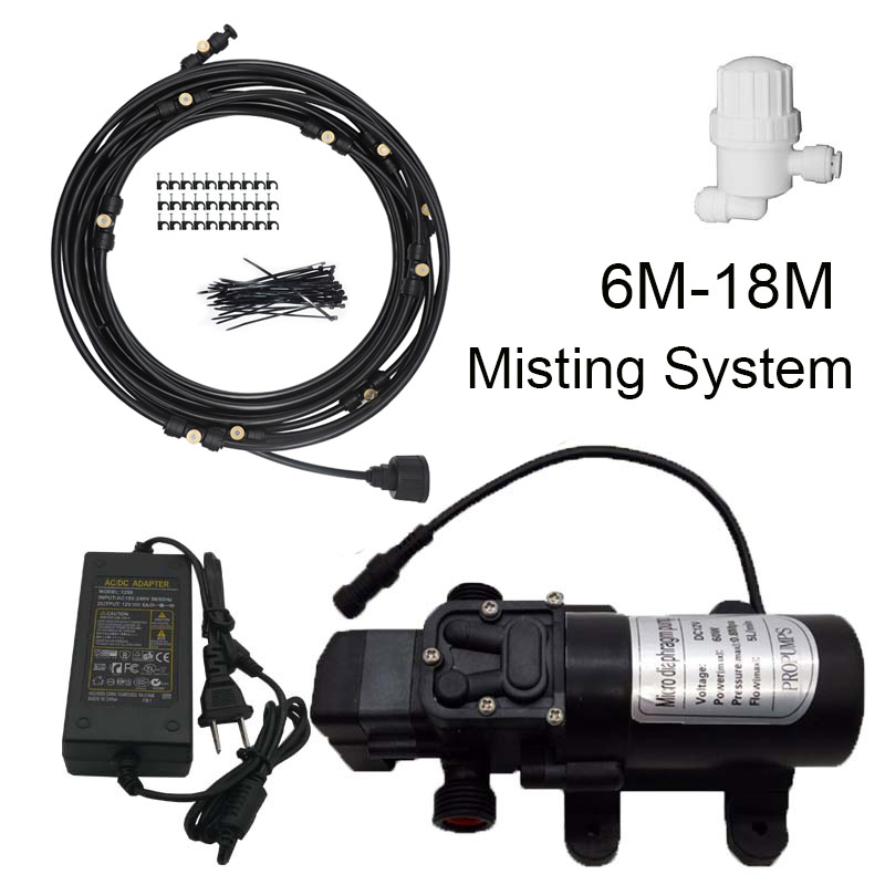 6M - 18M Garden water mist spray with Pump and Power  nebulizer for flowers plant greenhouse garden irrigation and misting