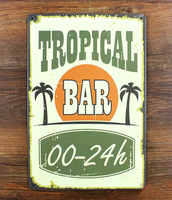 Vintage Painting Retro Bar Wall Art Decor Metal Doorplate Poster Tropical Bar House Bar Coffee Decoration