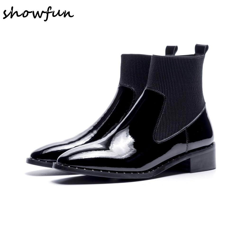 Appartements Cuir Designer Chaussures Des Femmes Slip Bottes Verni Cheville Véritable Stretch Court Qualité Confort Automne sur Haute Marque Chaussons Black 0wvNnm8O