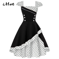 IHOT Summer Dress 2017 Cute Pinup Vintage Retro 18th Century Elegant Women Polka Dot Cotton Short