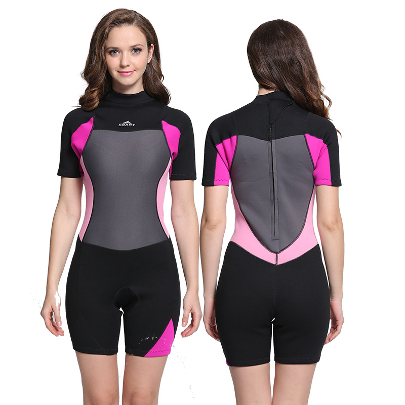 Spring Suit women Shorty Wetsuit Back Zipper male Short Sleeve 2mm Premium  Neoprene Female Surfing Snorkeling Diving Scuba for-in Wetsuit from Sports  ... 191e54d3d